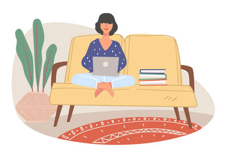 Freelancer working from home, student studying
