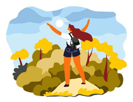 Woman stretching arms standing on mountains top Ilustração Vetorial