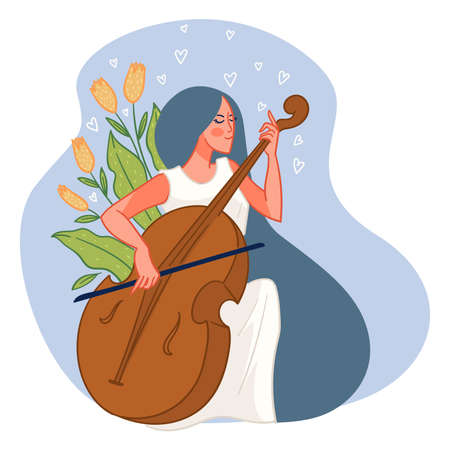 Violinist woman with musical instrument vector