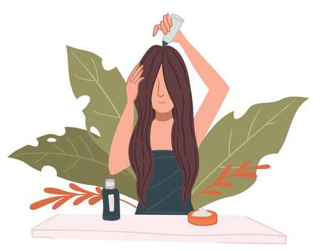 Female character caring for hair applying mask Vektorové ilustrace