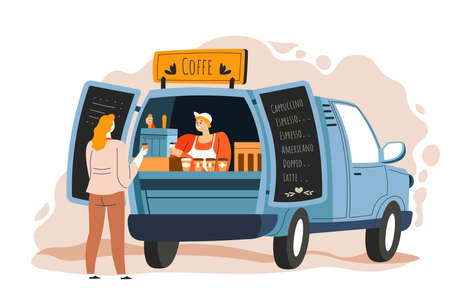 Coffee truck seller and customer at street vector