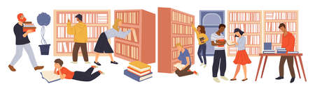 People looking for books in library or stores