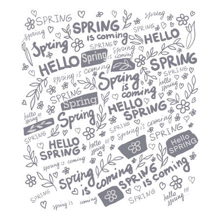Hello spring, card with inscriptions and flowers