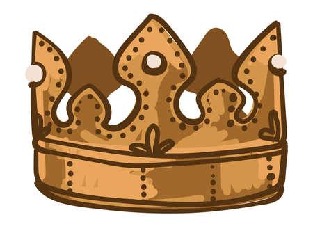 Golden crown for king or queen, royalty symbol Vektoros illusztráció