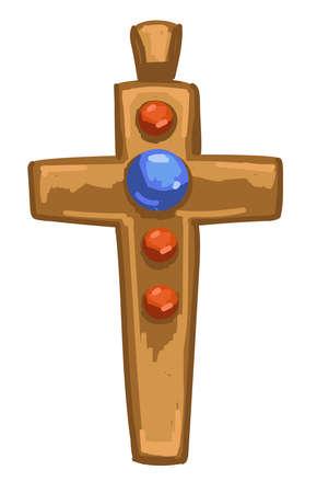 Medieval golden cross with precious stones vector