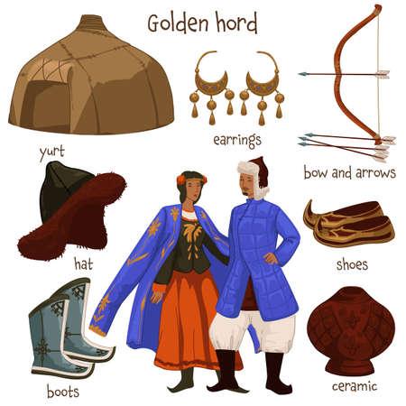 Golden horde people and clothes, lifestyle objects Vektoros illusztráció