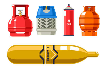 Tanks and cylinders with gas and petroleum vector