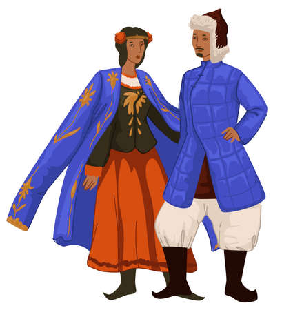 Mongol man and woman in traditional clothes vector
