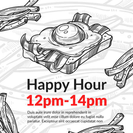Discounts and sales for food during happy hours. Buying products and dishes in restaurants, sandwiches with bread, roasted bacon and fried egg. Monochrome sketch outline, vector in flat style Ilustracje wektorowe