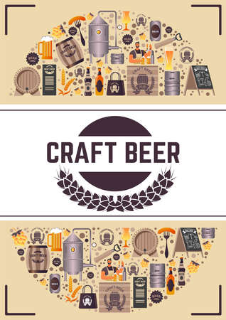 Craft beer, brewery with tasty alcoholic beverage Vetores