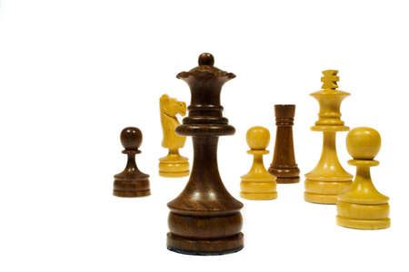 Random group of chess figures on a white background