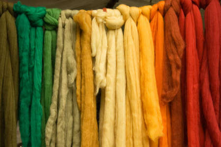 Coloured wool belts for medieval fancy-dressing. Photo made on Angelbachtal Medieval Market - in Angelbachtal, Germany.