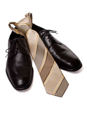 Classic black shoes with tie.