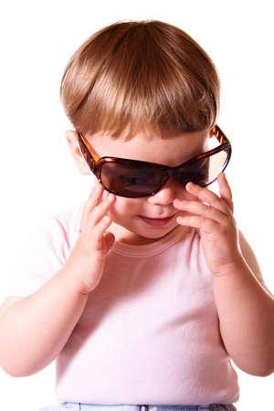 girl wearing sun glasses. Isolated on white background. Stock Photo - 3054499