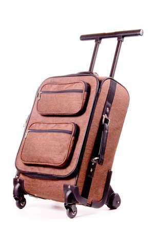 Brown business trolley bag for business travel. Studio shot, isolated on white background. Stock Photo