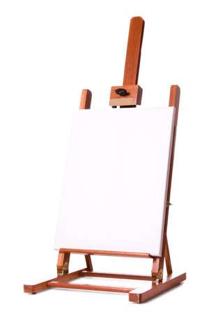 Blank artist easel. Studio shot, isolated on white background.