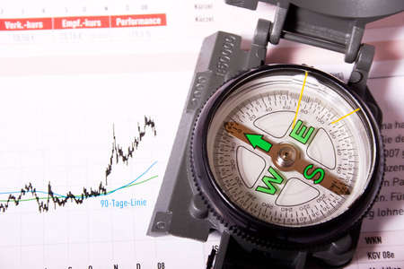 Compass with growing financial chart. Concept: your compass for emerging markets.