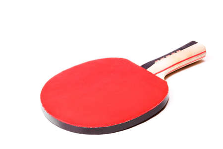 Table tennis racket in red soft cover. Isolated on white background.