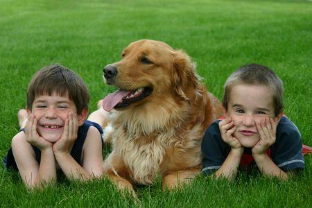 Boys with Dog photo
