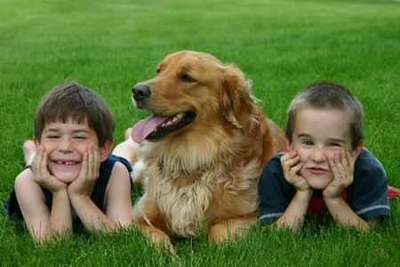 Boys with Dog Stock Photo - 426370