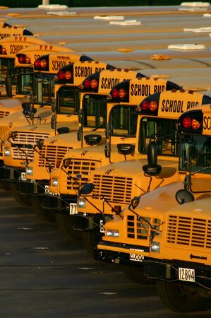 school buses: Lot of School Buses Stock Photo