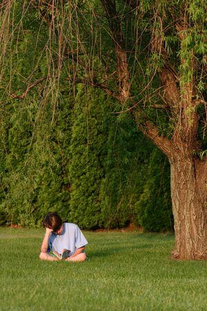 under the tree: Boy lectura bajo un �rbol  Foto de archivo