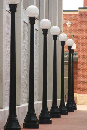 Lamp Posten op een rij Stockfoto