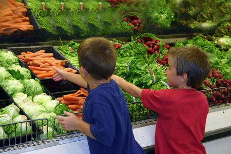 Boys Shopping in the Produce Stock Photo