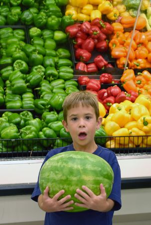 Boy Surprised with Watermelon Stock Photo - 527245