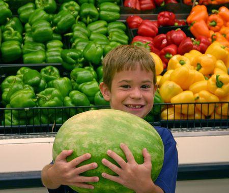 bought: Boy Holding Watermelon Stock Photo