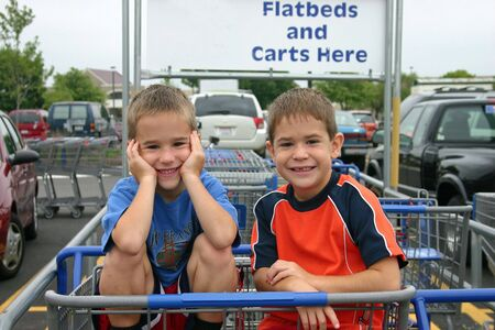 Boys in Shopping Cart photo