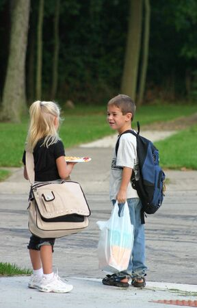 Kids at Bus Stop Stock Photo - 538931