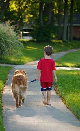 Young Boy Walking Dog photo