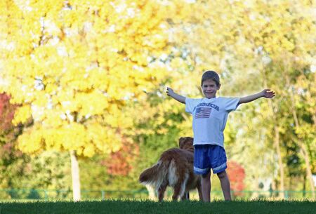 Boy in the Fall Stock Photo - 575109
