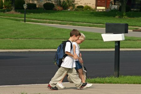 coming home: Children Coming Home From School