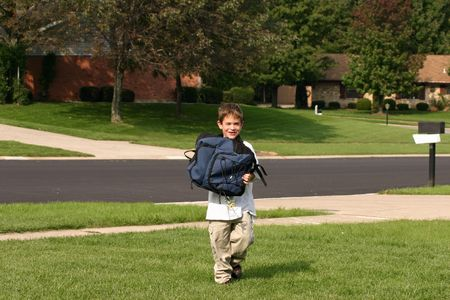 coming home: Boy Coming Home from School