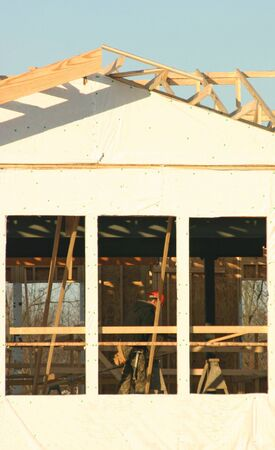 Construction Worker Building a House Stock Photo - 734057