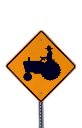 tractor sign: Tractor Sign on White Stock Photo