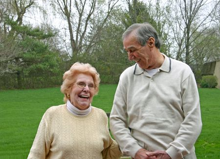 mate married: A nice looking older couple laughing together Stock Photo