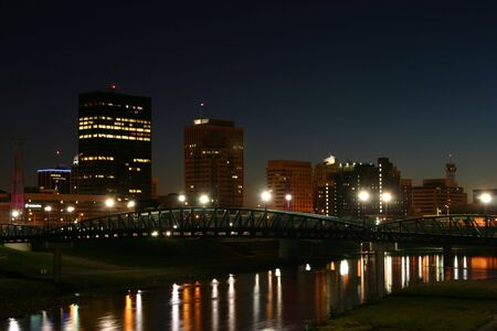 outoors: Night scene reflecting in water of Dayton, Ohio