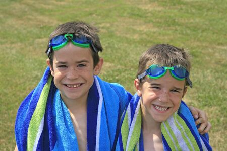 Boys with Goggles and Beach Towels Stock Photo - 1103973