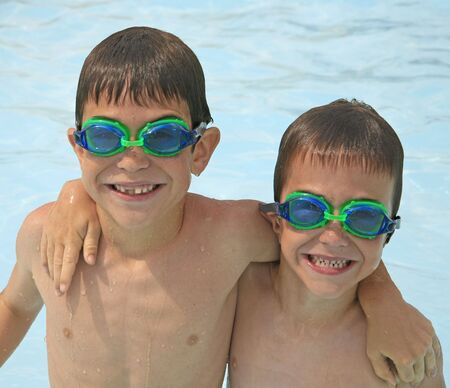 Boys at the Pool with Goggles on photo