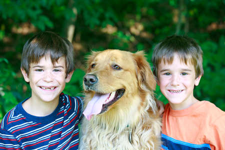 Boys with the Dog Stock Photo - 1526938