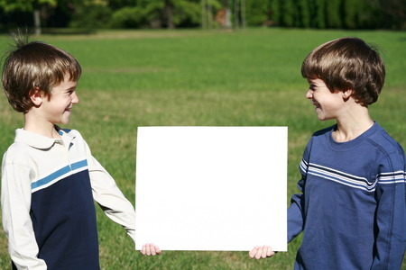 Boys Holding A Message photo