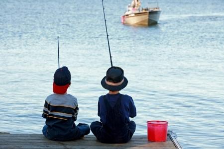 釣りの男の子 写真素材
