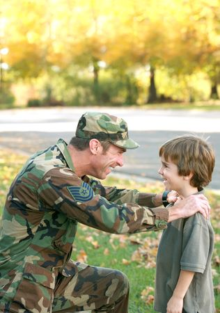 war and military: Father and Son Talking