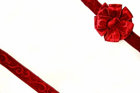 Red Bow on Christmas Box Stock Photo