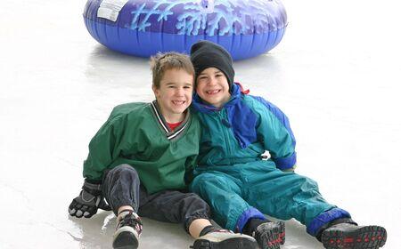 Boys Tubing on Ice photo