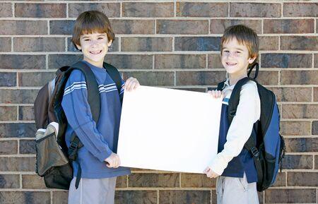 School Kids Holding Blank Sign