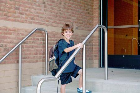 educating: Boy Going to School